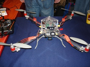 Homemade Quadcopter. There were several at the Faire, and they were flown around the site.