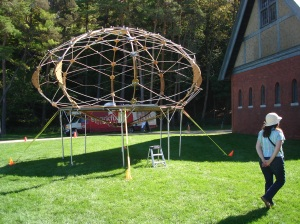 The sky yurt. A tensegrity construction, inspired by Buckminster Fuller